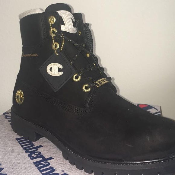 "professional design unbeatable price cheap sale TIMBERLAND X CHAMPION 6"" Black Shearling Boots Boutique"